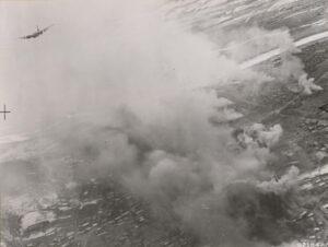 B-26 경폭격기가 황해도 황주 지역을 폭격한 직후의 모습|1951.2.15. NARA 소장